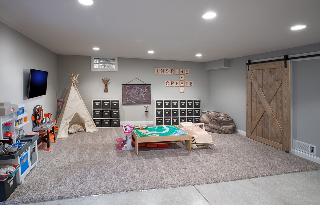 A play area as part of a basement renovation.
