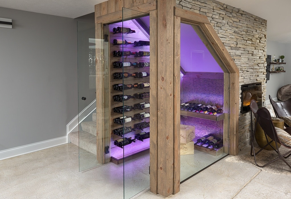 A walk-in wince cellar that was part of a basement renovation.