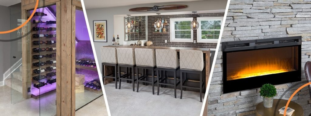 A basement renovation collage of images.
