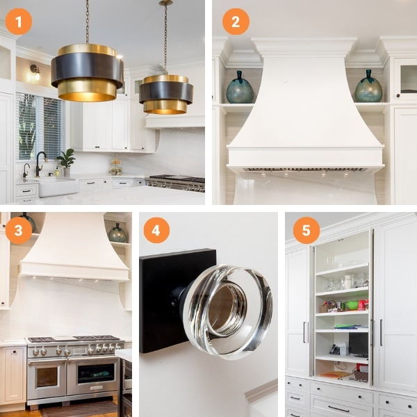 Kitchen, mudroom, and laundry renovation collage of favorite features.