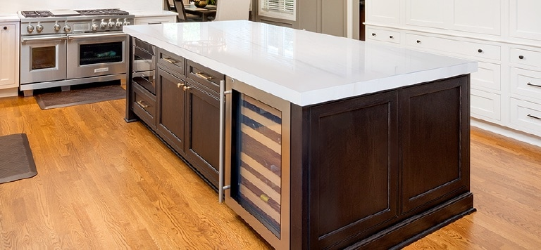 An example of stained kitchen cabinets.