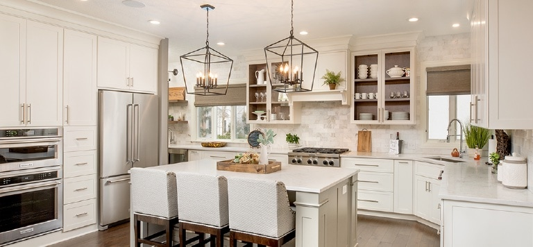 An example of painted kitchen cabinets.