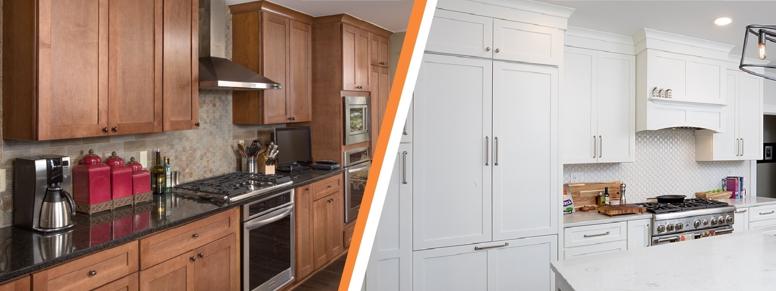 An example of painted vs. stained cabinetry.