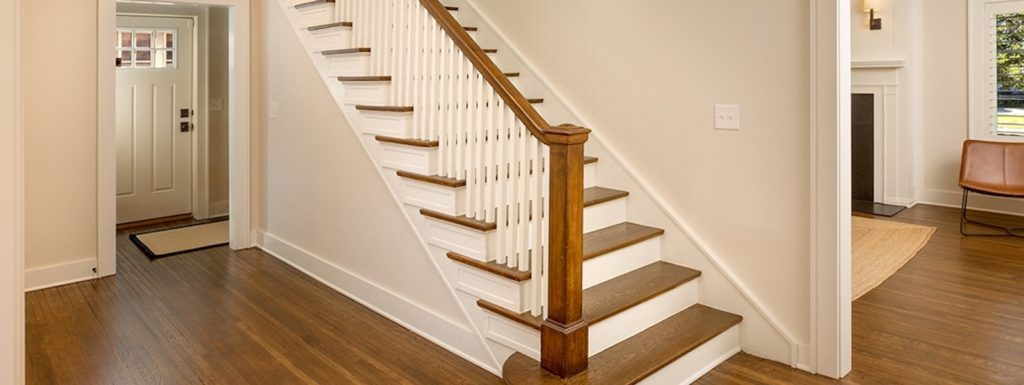 A staircase in a renovated house.
