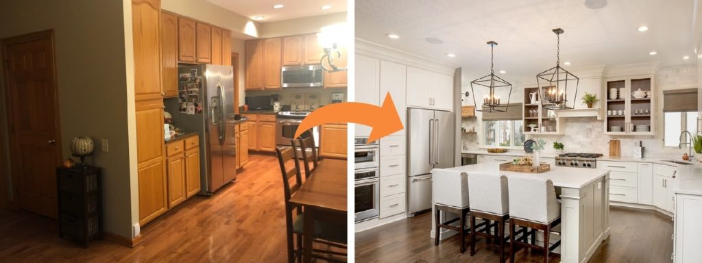 An before and after of a perfect kitchen remodel.